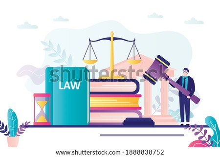 Lawyer holds wooden gavel. Judge passed sentence defendant. Concept of legal verdict and legislation authority. Elements of court and law. Constitution and scales on background. Vector illustration Foto stock ©