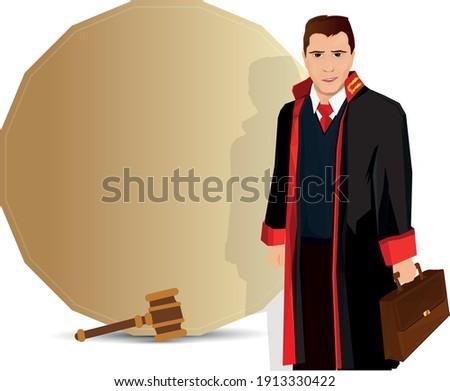 Lawyer illustration. portrait of a smiling lawyer. Turkish April 5 Lawyers Day celebration message. Vector illustration. avukat, savci, hakim ve mesaj icin bir arka plan.  Stok fotoğraf ©