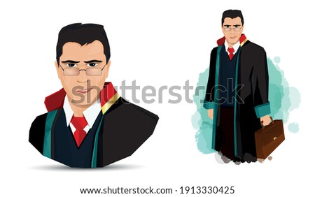 Lawyer illustration. portrait of a smiling lawyer. Turkish April 5 Lawyers Day celebration message. Vector illustration. Avukat, savci, hakim illustration. Stok fotoğraf ©