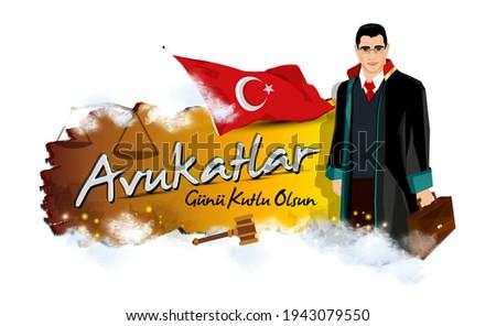 Lawyer illustration. portrait of a smiling lawyer. Turkish April 5 Lawyers Day celebration message. Vector illustration. Turk bayragi ve avukatlar gunu kutlu olsun metni. Stok fotoğraf ©