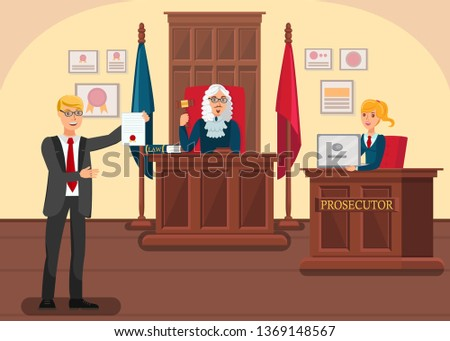 Lawyer Providing Evidence Flat Vector Illustration. Cartoon Prosecutor Arguing with Barrister in Courtroom. Judge Moderating Accusation, Defense Sides. Solicitor Shows Innocence Proofs in Litigation Сток-фото ©