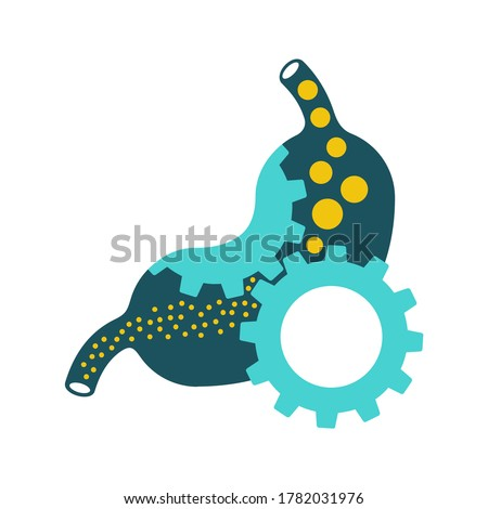 Laxative icon - human stomach with gear box mechanicm inside - for gastro medical drugs packaging  - isolated vector emblem
