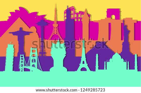 Layer background of silhouettes of tourist landmarks of the world.