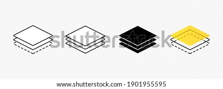 Layer line icon set. Layout sign. Vector on isolated transparent background. EPS 10 Foto stock ©