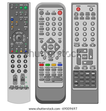 Layered illustration set of different remote controller in vector.