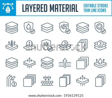 Layered material and Mattress covering thin line icons. Fabric layers and Type of fabric outline icon set. Editable stroke icons.