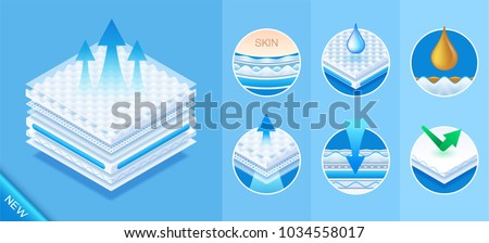 Layered material while offering excellent breathability, comfortable orthopedic mattress, protection and comfort. Baby diapers, napkin, sanitary pad advertising. Vector eps10. New concept