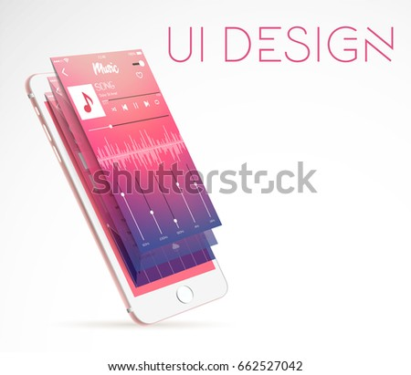 Layered modern ui interface design with smartphone in 3d style