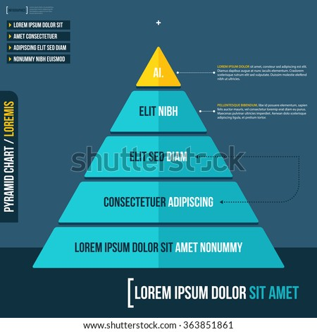 Layered pyramid chart diagram in flat style. Useful for presentations and advertising.