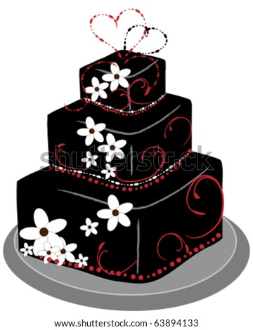 Layered Square Cake - stock vector