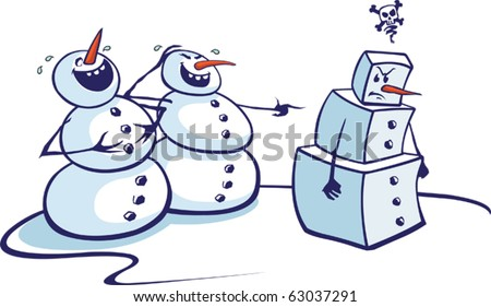 Layered vector cartoon of two snowmen laughing at a fellow snowman.