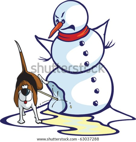 Layered vector file of a cartoon snowman and a relieved dog.