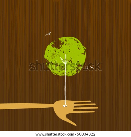 Layered vector illustration of a tree growing from a couple of seeds in the palm of a hand.