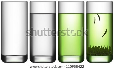 Layered Vector Illustration Of Empty Glass, Glass Of Water and Glass Of Green Tea.