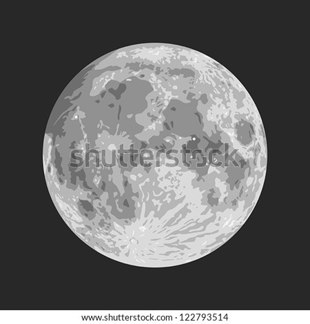 Layered vector illustration of Moon with black background.