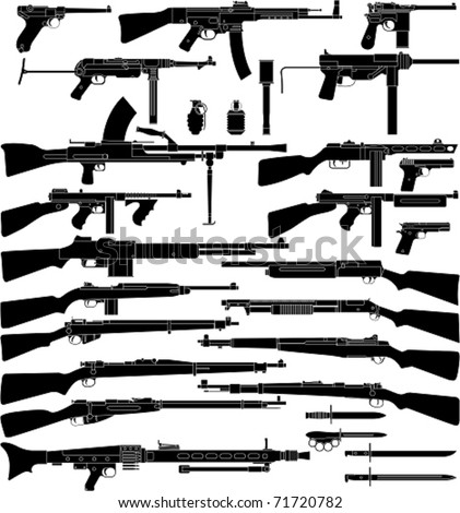 Layered vector illustration of various weapons which mainly be used in World War II. - stock vector