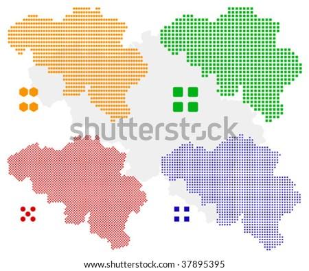 layered vector pixel map of Belgium.
