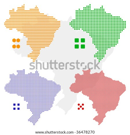 layered vector pixel map of Brazil - stock vector