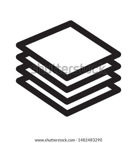 Layers icon design. Layers icon in line style design. layers icon four levels stacked on top of each other. Vector illustration.