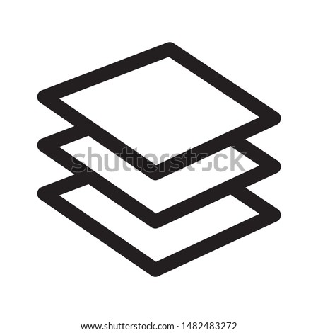 Layers icon design. Layers icon in line style design. layers icon three levels stacked on top of each other. Vector illustration.