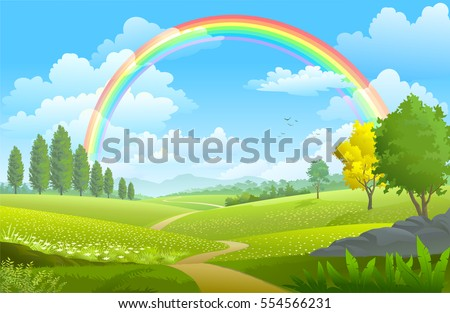 Layers of flowers over the vast meadows under a rainbow on a sunny day