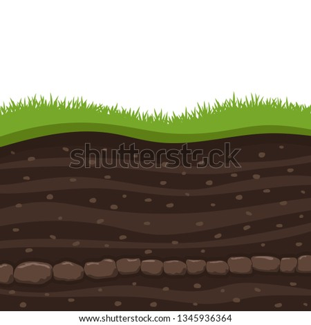Layers of grass with Underground layers of earth, cut of soil profile with a grass, layers of the earth, clay and stones