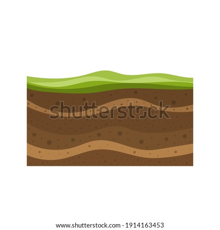 layers of grass with underground layers of earth, cut of soil profile with a grass, layers of the earth, clay and stones, structure of soil layers diagram vector illustration