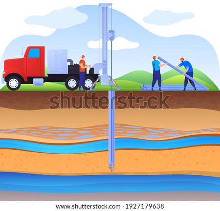 Layers of land with underground rivers. Drilling a water well, supplying water to the house. Artesian well. Drinking water. Color vector illustration in flat style