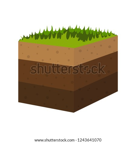 layers of soil with underground layers of earth, seamless ground with layer of grass