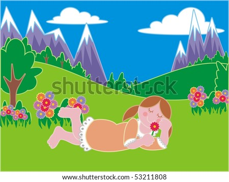 laying girl in a dress smelling a flower in a meadow