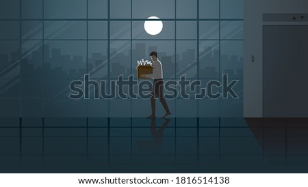 Layoff unemployed office people with his stuff box leaving from lift workplace. Alone in the dark and full moon light. Lonely people in city. Economics crisis business failure problem sadness scene. Stockfoto ©
