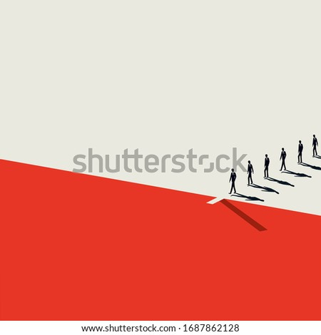 Layoffs due to financial crisis, coronavirus vector concept. Symbol of job loss, unemployment, firing people. Depression, recession in markets and corporate world. Minimal art style Eps10 illustration Stockfoto ©