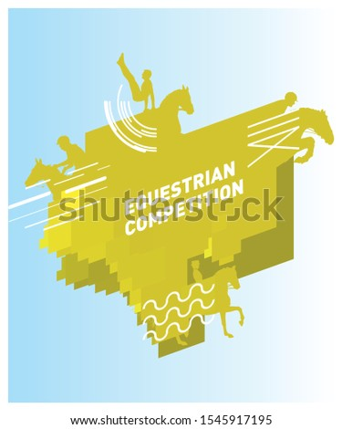 Layout design for equestrian discipline competition for sports symbol of Endurance, Jumping, Dressage and vaulting.