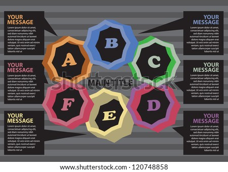 Layout design for progress circle with different colors. Vector illustration.