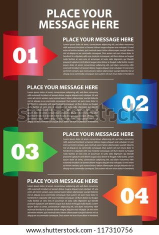 Layout design of fold paper with colors and area for text. Vector illustration.