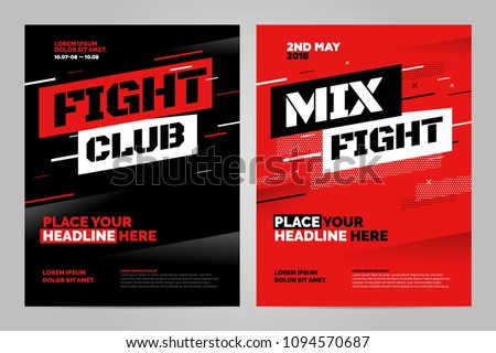 Layout design template for fight event or other sport event. Can be adapt to Brochure, Annual Report, Magazine, Poster.