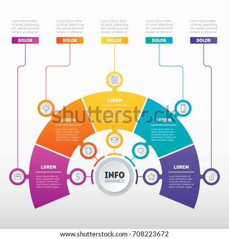 Layout of Business presentation, infographic or mind map with 5 options. Vector dynamic infographics of technology or education process. Web Template of a chart, mindmap or diagram