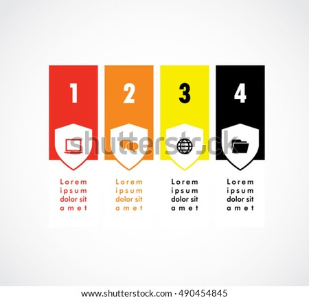Layout Ribbon Shield Banner Of Infographics Elements Flat Menu Set Template For Business Vector
