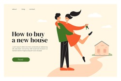 Layout template of buying new house. Happy home owners near their property. Man holding woman with door keys in hand. Mortgage loan, real estate. Young couple buy house. Ad banner, vector illustration