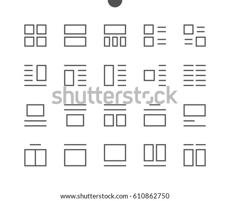 Layout UI Pixel Perfect Well-crafted Vector Thin Line Icons 48x48 Ready for 24x24 Grid for Web Graphics and Apps with Editable Stroke. Simple Minimal Pictogram Part 4-6