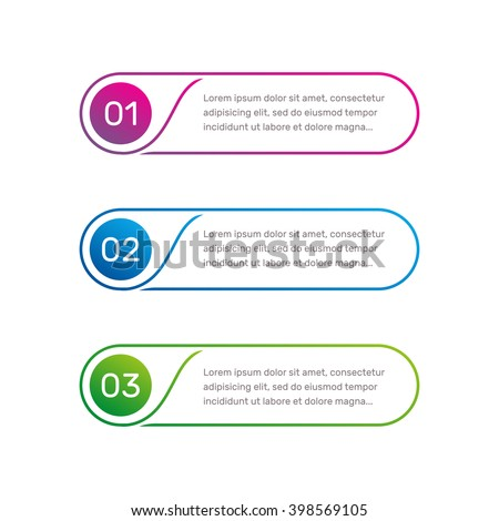 Layout workflow. Outline colorful menu for app interface. Number options. Web design elements for button element. Infographics vector template. Infographics web. 1. 2. 3. Illustration text.