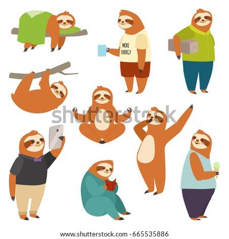 laziness sloth animal character ...