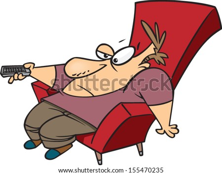 Lazy Person On Couch Cartoon Lazy cartoon man sitting in a