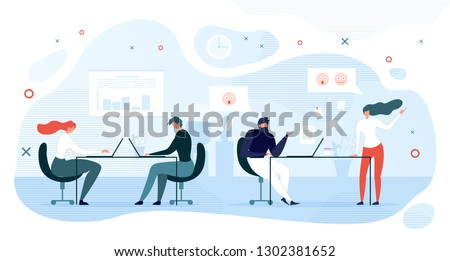 Lazy Company Employee Shirking of Work Flat Vector with Female and Male Office Workers Sitting at Work Desk, Working on Laptop While Two Colleagues Talking Illustration. Office Informal Communication