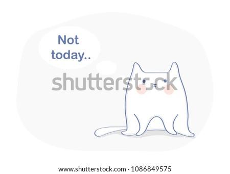 lazy cute fat fun cartoon cat