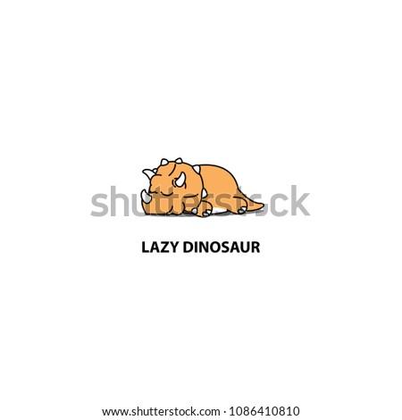 lazy dinosaur  cute triceratops