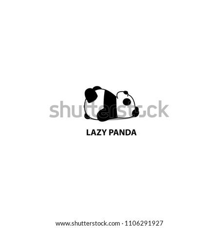 Lazy panda sleeping icon, logo design, vector illustration