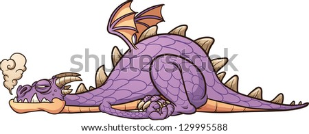 lazy purple dragon laying down