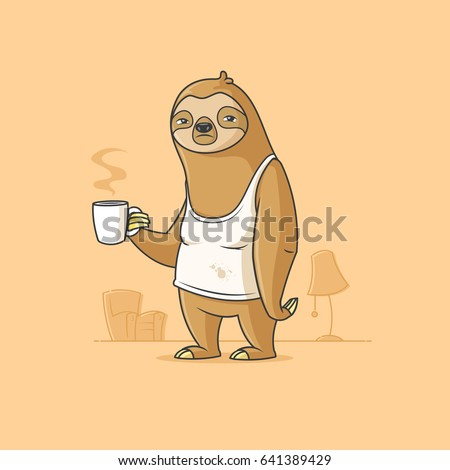Lazy sloth having a coffee on monday morning vector cartoon illustration Сток-фото ©