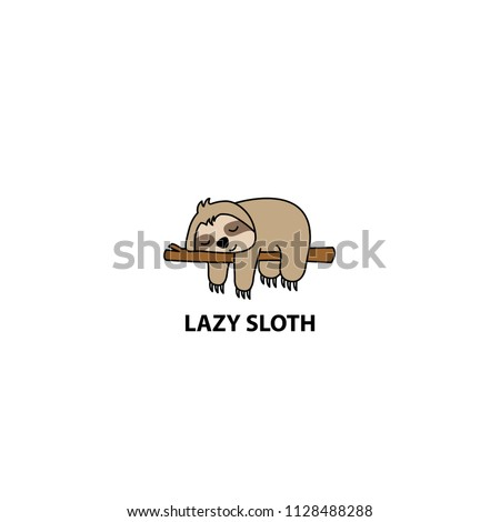 Lazy sloth sleeping on a branch cartoon, vector illustration
